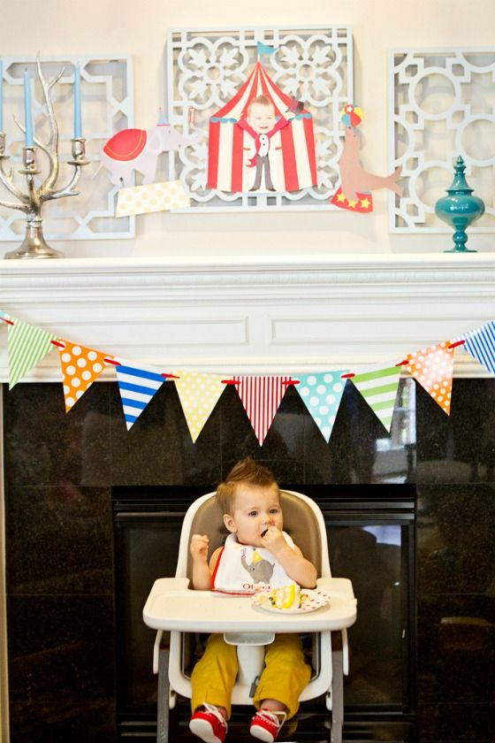 Ideas for how to decorate your little one's high chair for their first birthday - #firstbirthday: Baby Party, 1St Birthday Parties, Circus Birthday Party, Firstbirthday, Projects Nurseries, First Birthday, 3Rd Birthday, 1St Birthdays, 1St Birthday Party