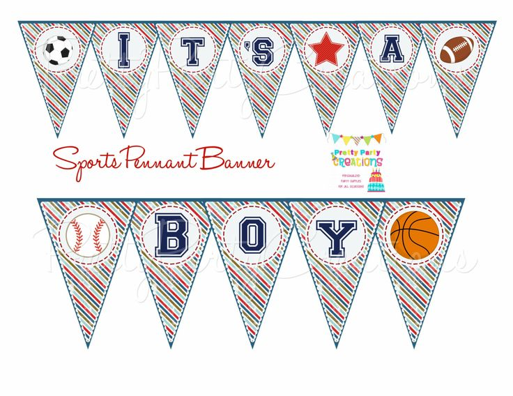 Sports Pennant Banner Baby Shower Or Birthday You