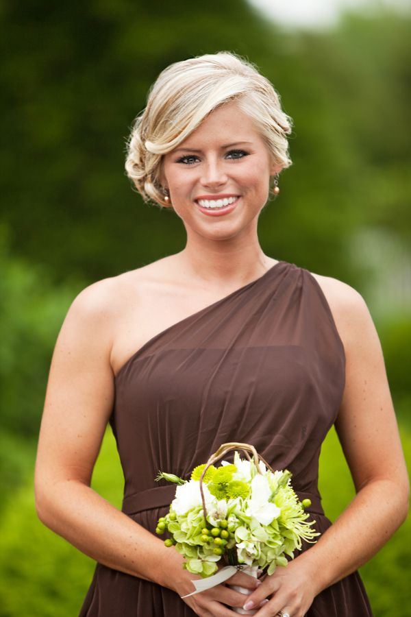 Brown-Bridesmaids-Dress.  I like the color, but with aqua flowers and all the bridesmaids wear different brown dresses.