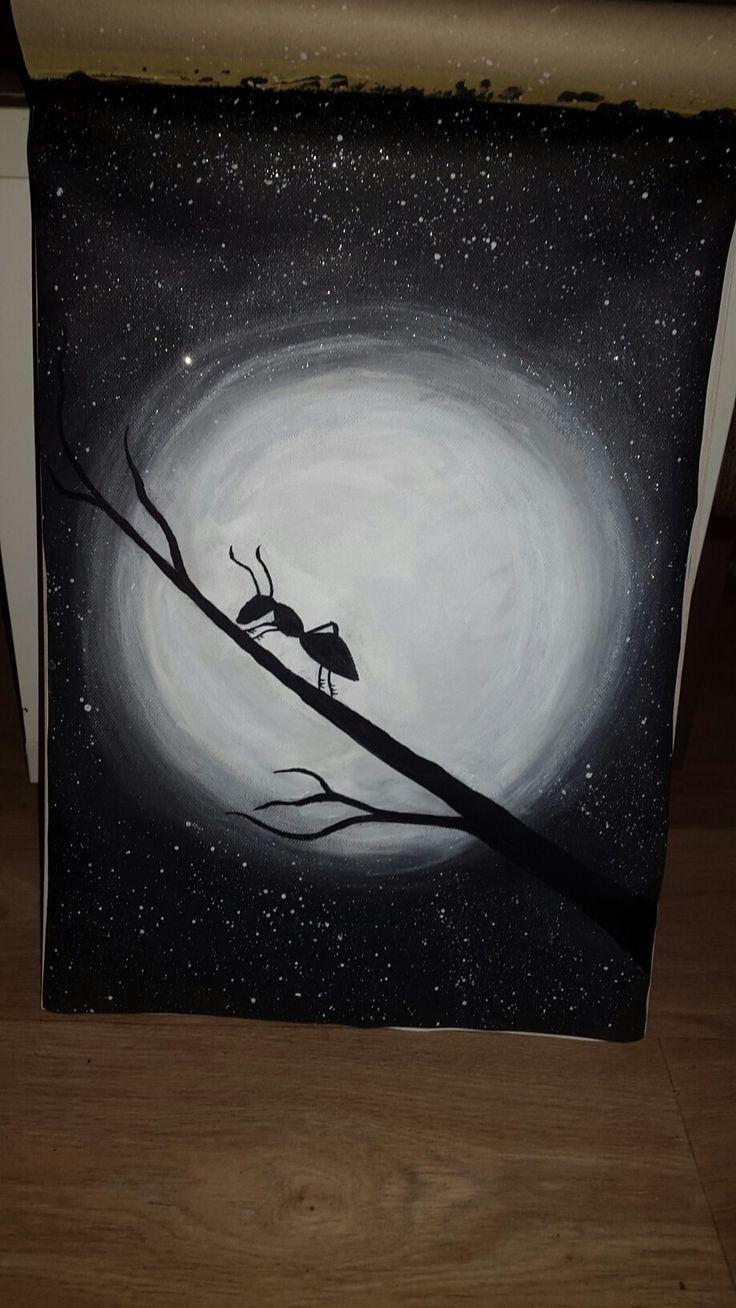 Full moon, ant, acrylic paint