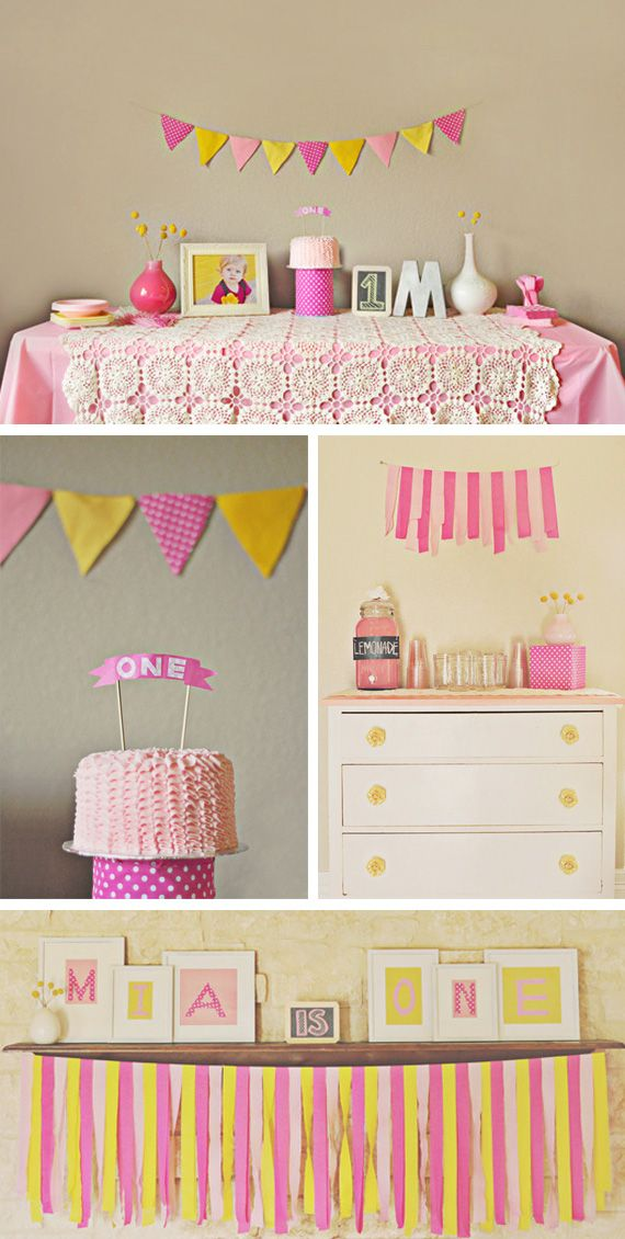 A pink and yellow party in Ideas for babies, kids and adults birthday parties
