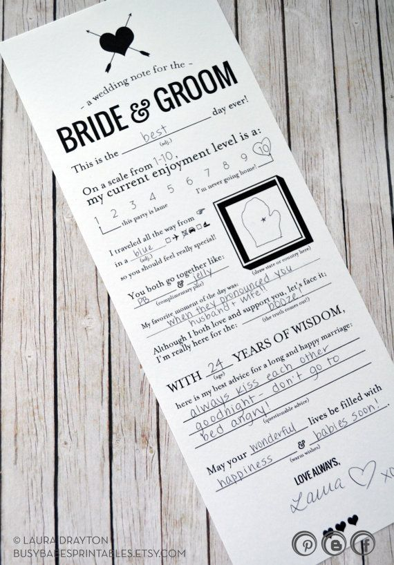 Wedding Mad Libs Printable Note for the by busybabesprintables