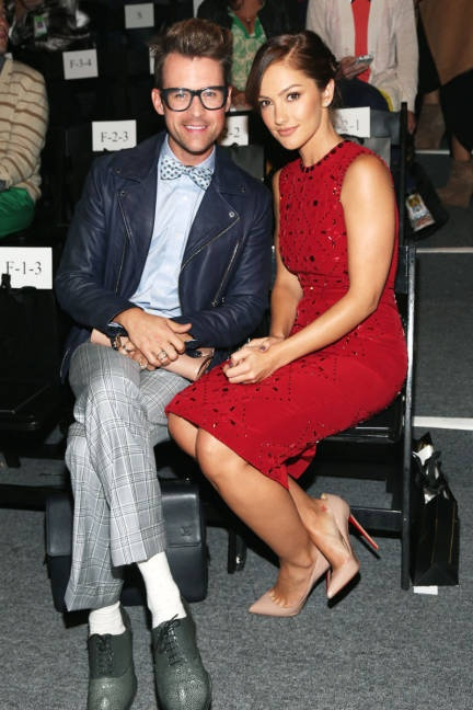 Super-stylist Brad Goreski makes a pretty pair with Minka Kelly at Jenny Packham, Spring 2013