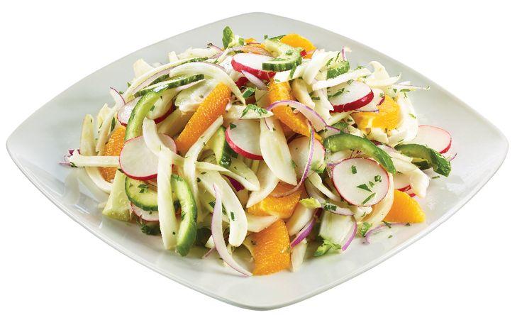 Insalata Amalfitana - Crunchy Salad with Fennel, Radishes, Cucumbers & Orange Segments in Red Wine Vinaigrette from #YummyMarket