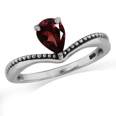 Natural Garnet 925 Sterling Silver Balinese Solitaire Ring SZ 7