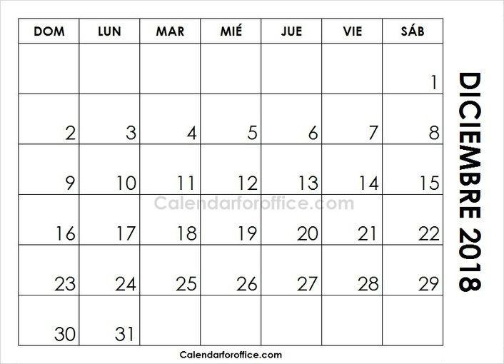 December 2018 Calendar Spanish 2021 Calendar Print Calendar