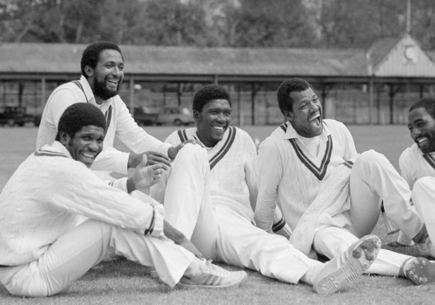 When legends prowled the pitches: From the West Indies Tour of 1980 at Lord's, Lawrence Rowe, Andy Roberts, Joel Garner, Colin Croft and Vivian Richards. Photo: Patrick Eagar