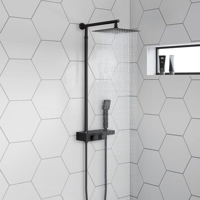 Matte Black Square Thermostatic Mixer Shower Kit Amp Shelf Home Interior Exterior Amp Design