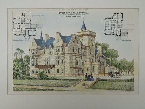 Cargen House, Seat of Patrick Dudgeon, Dumfries, Scotland, UK, 1874, Original Plan. Peddie & Kinnear. – St. Croix Architecture