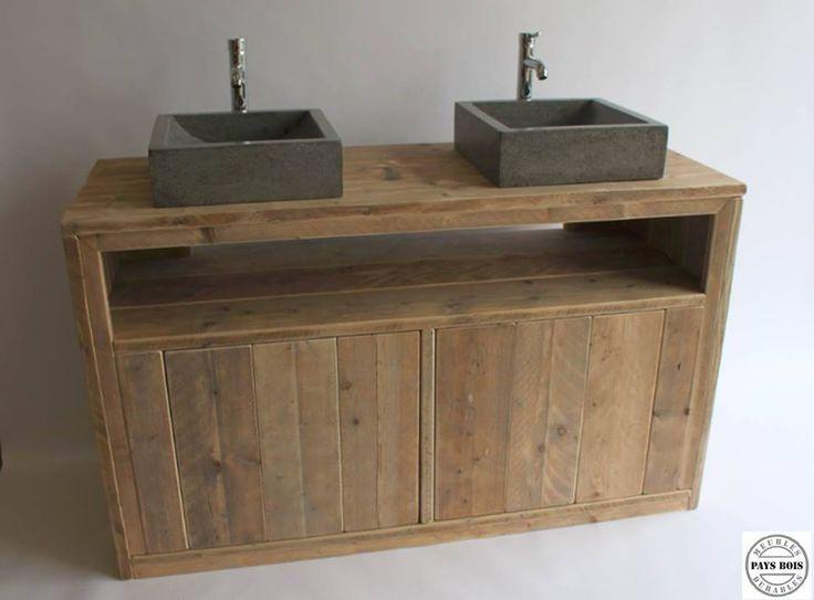 Meuble salle de bain pays bois avec 2 portes meubles for Meuble salle de bain avec porte persienne