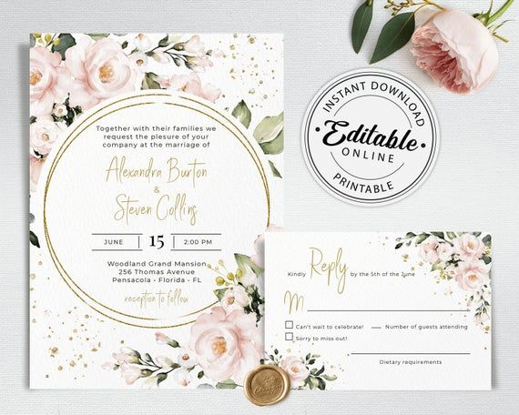Printable Wedding Invitation Template Pink and Gold Wedding Invitation Printable Template Blush Floral Wedding Invitation TEMPLETT Abigail