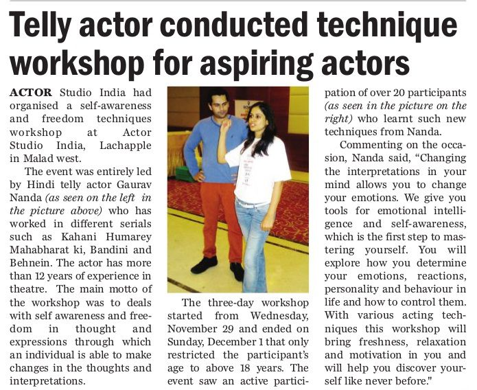 "News Paper Article On My Latest Workshop On "" Self Awareness And Freedom Techniques "" In City Plus Jagran .  Initiative By Actor Studio India ( http://actorstudioindia.com/ )  http://gauravnanda.in/"