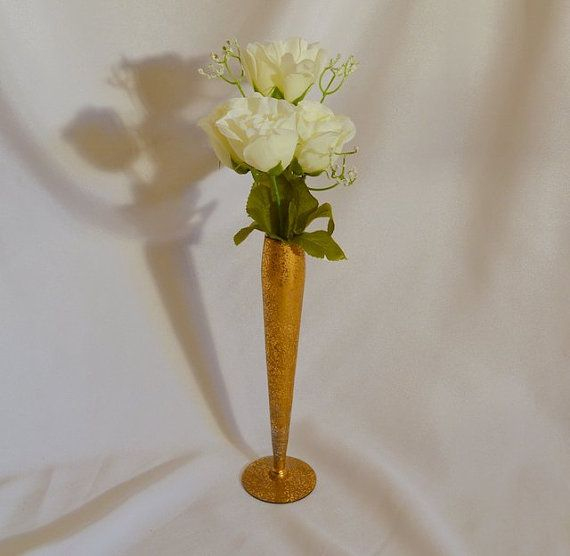 Flower Vase 22K Gold Encrusted Ransgil by ChicMouseVintage on Etsy