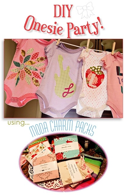 DIY Onesie Party with Moda Charm Packs.   Free Printable Ideas, Templates and Alphabets for your own Party!