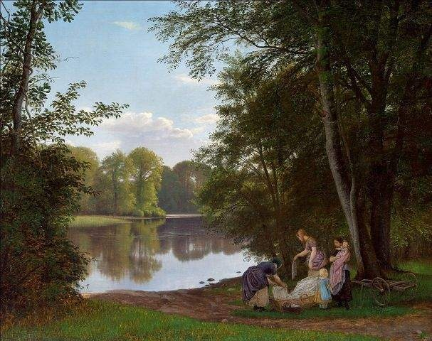 P.C. Skovgaard (1817-1875): Stille sommeraften ved en indsø