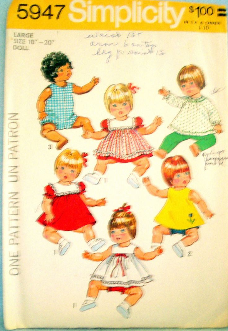 Vintage Baby Doll Clothes Pattern 18 20 Inch Simplicity