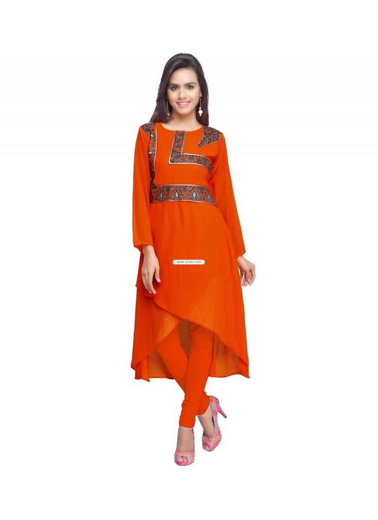 Orange Faux Georgette Party Wear Kurti