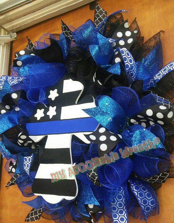 Police Wreath/ Thin Blue Line Police Officers Wreath/ Black