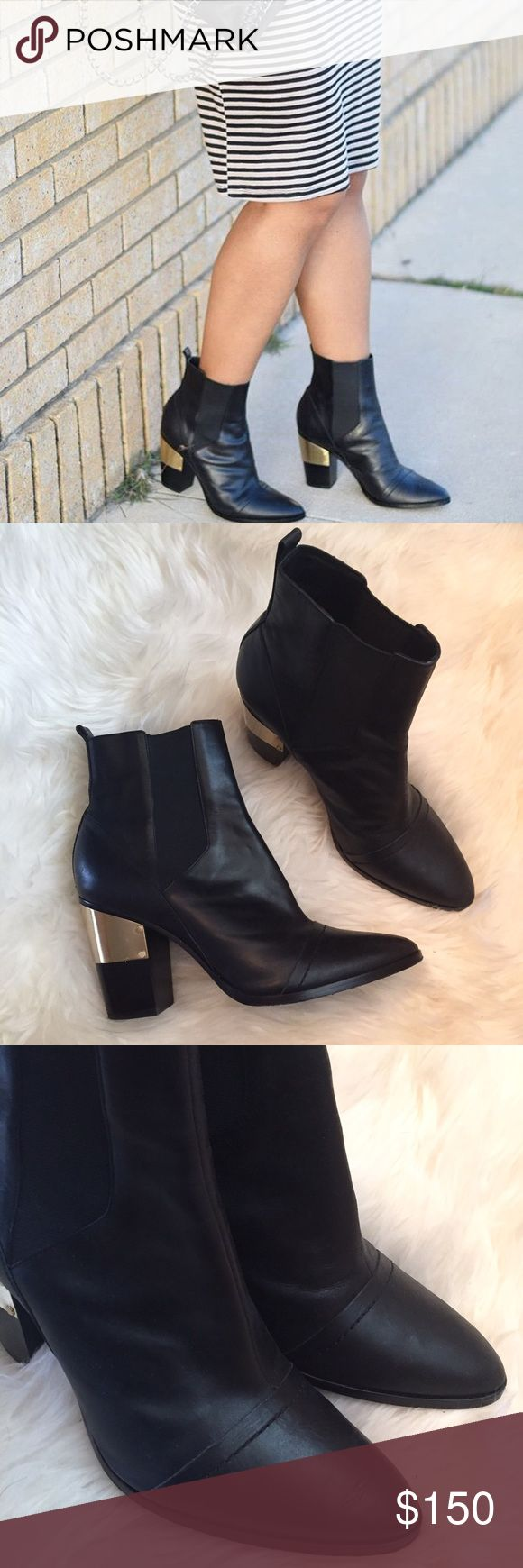 """Rachel Zoe Black Leather Ankle Boots Worn a few times. Black leather semi pointed toe booties with gold tone hardware accents to stacked block heels. Heel height 3.5"""". Elastic band at sides. Minor wear overall, creases in leather from wear, minor scuffing and rubbed out area in back, tried to show in pictures flaws. Nothing is noticeable unless close. Could use some leather cleaner to clean up.❌NO TRADES OR PAYPAL❌ Rachel Zoe Shoes Ankle Boots & Booties"""