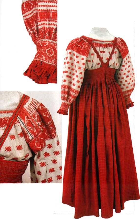 Russian traditional costume. Bridal attire of Solvychegodsk Region, Vologda Province, 1870s – 1880s. #folk #art