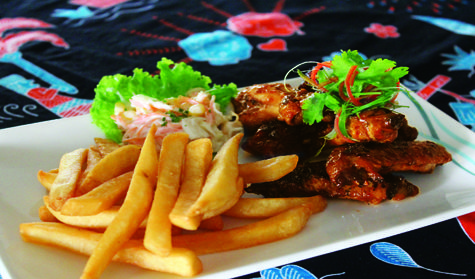 Sweet and spicy barbecue chicken wings are perfect with a side of french fries, and corn coleslaw. Which means a bit lighter, our tasty chicken wings make a perfect platter of finger food to share with your friends. Get it only at Kembang Goyang Restaurant IDR 48,800 net per portion.
