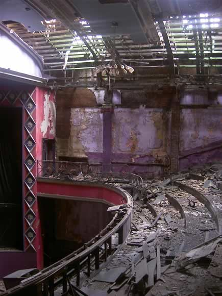 Interior of The Futurist cinema, Liverpool... I love that diamond pattern on the left of the picture, it's so sad that it's been abandoned like this.