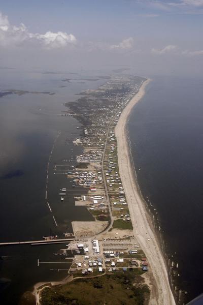 Aerial picture of Grand Isle, Louisiana