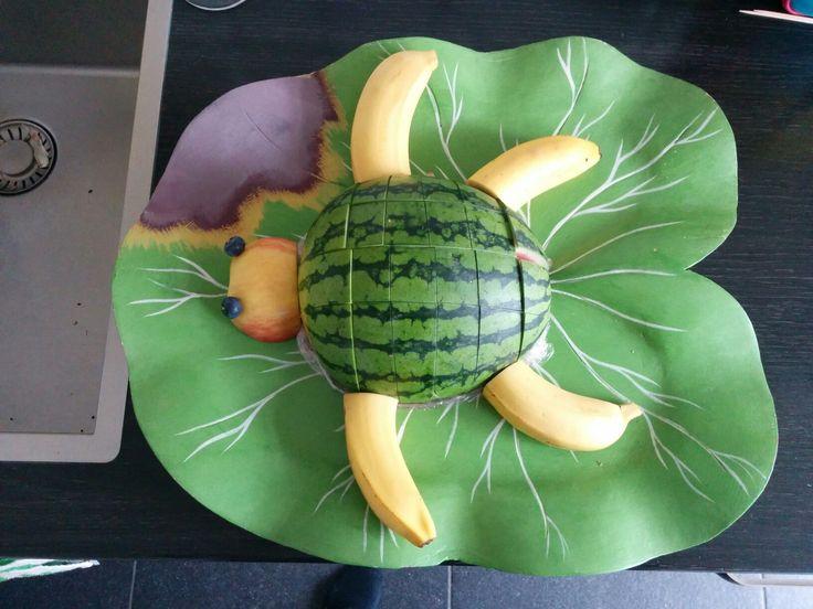 Gezonde traktatie: watermeloen, 2 bananen, appel en 2 blauwe bessen #schildpad #turtle