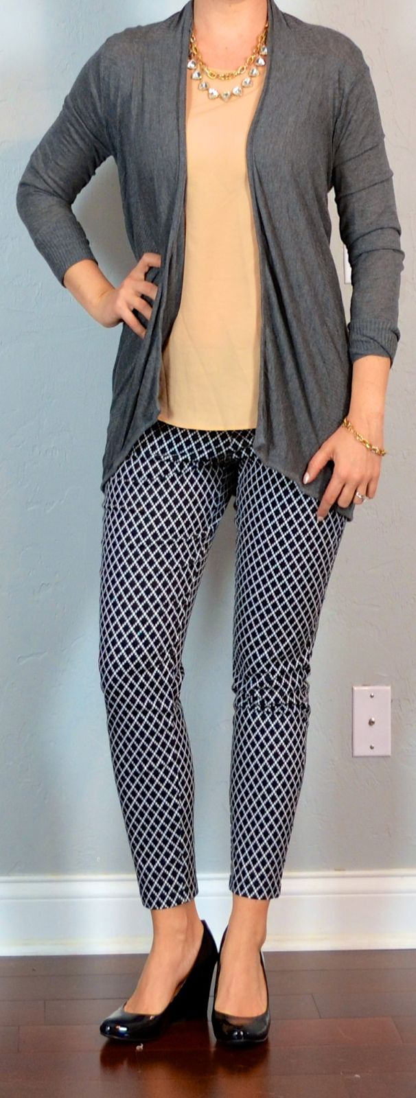 outfit post: pattern skinny pants, nude blouse, grey cardigan, black wedges | Outfit Posts