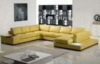 Moutarde coupe salon canapé moderne en cuir italien de Grain supérieur Foshan A1110