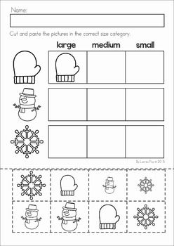 Winter Preschool Math and Literacy No Prep worksheets and activities. A page from the unit: sorting by size