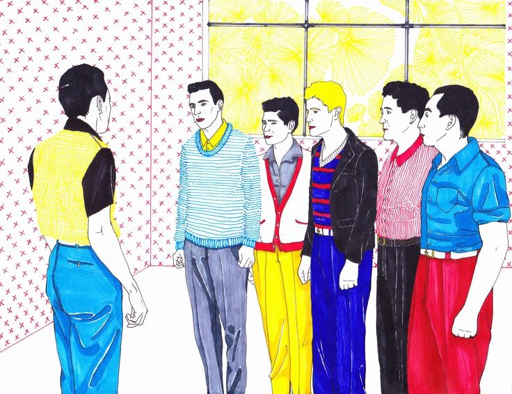 ilustración retrato-documental, trabajada a mano, lápices de colores (scripto,tinta), photoshop.