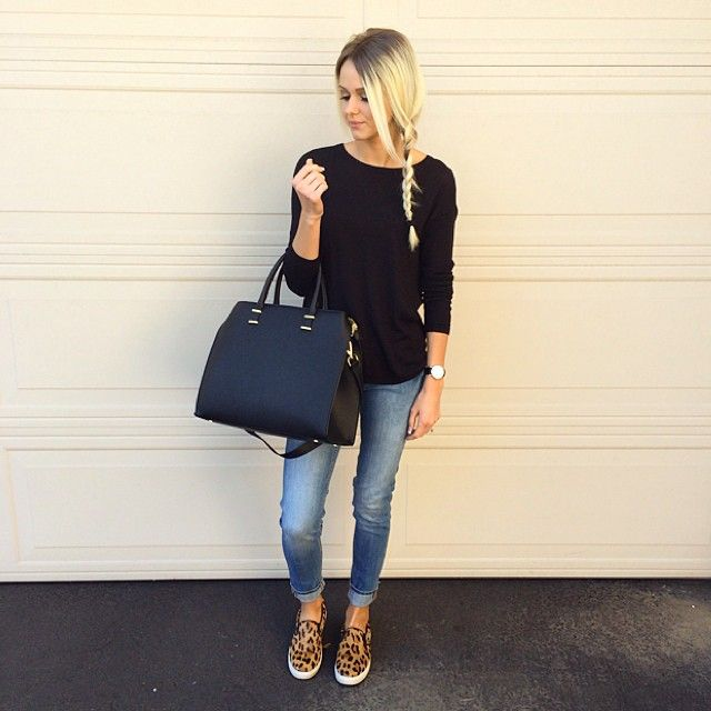 casual jeans, sweater, leopard print slip on.