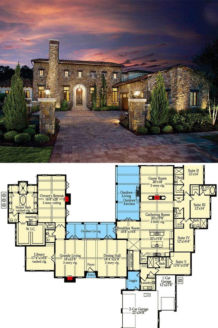 5-Bedroom Single-Story Tuscan Abode (Floor Plan) in 2020 ...