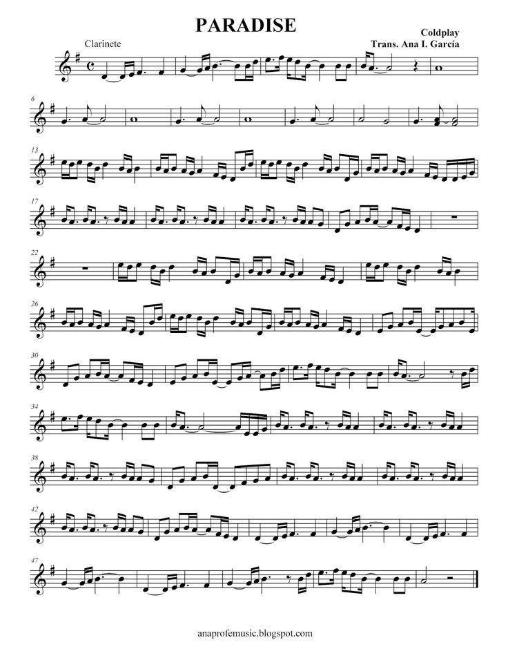 "Ana Music: Partitura ""Paradise"" Colplay. Flauta, clarinete, trompeta, saxofón, violín, viola, violonchelo..."