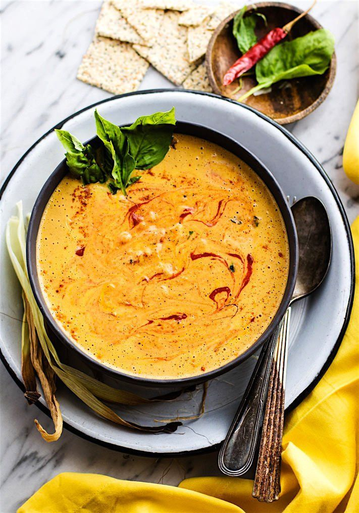 Spicy Vegan Cream of Corn soup! A vegan cream of corn soup that's nourishing, flavorful, and gluten free! So easy to make. Just roast then toss in a blender. Perfect vegetarian dish for anytime of year. Serve warm or chilled. Ready in 35 minutes and super tasty!