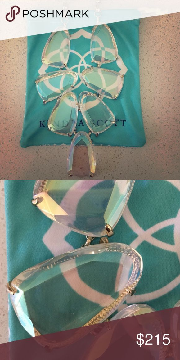 Kendra Scott clear iridescent Harlow ****Never worn. Disclaimer: One stone is slightly loose - could probably be tightened at the color bar if taken in to Kendra Scott store location. Necklace no longer available in stores Kendra Scott Jewelry Necklaces