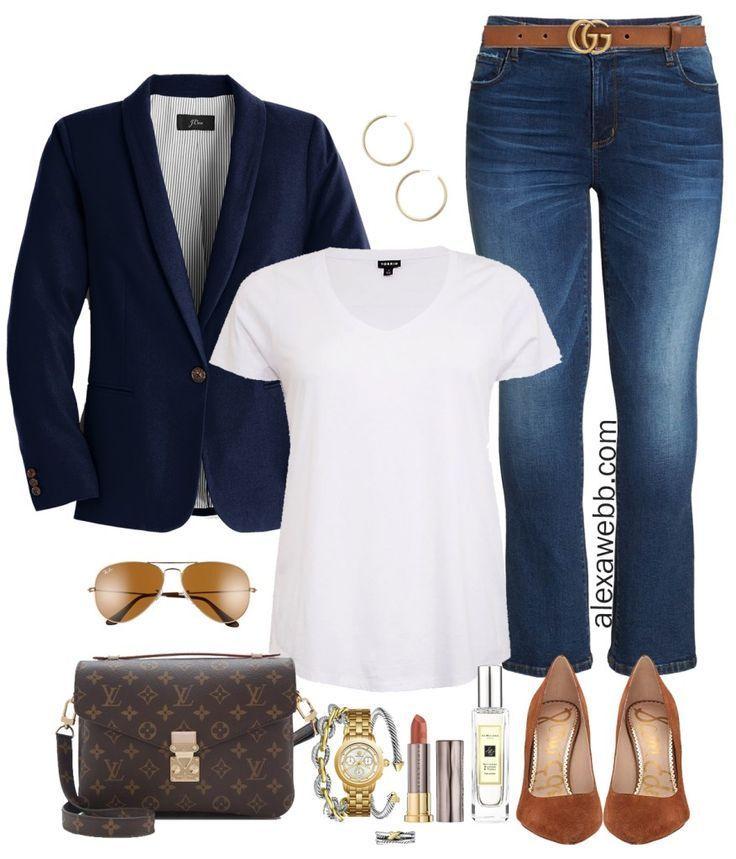 Plus Size Navy Blazer Outfit – Freizeitoutfit in Übergröße mit Bootcut-Jeans – Plus …