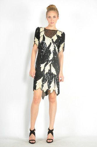 Vtg 80s Black + White SCALLOP SEQUIN LEAF Flapper COCKTAIL Party SILK Dress XS/S | eBay