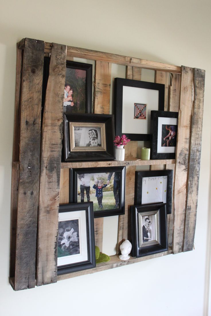 "frames from a Pallet!! And it would really save the wall because you could ""hang"" the pictures in side! Hubby would be happy with that - I'm thinking the pallet could be white washed too - different look!?!"