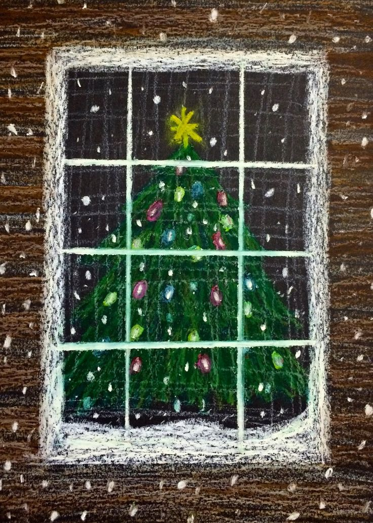 Kathy's AngelNik Designs & Art Project Ideas: Oil Pastel Christmas Tree in a Snowstorm