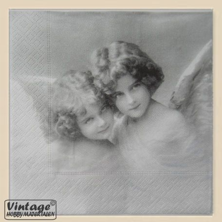 Nostalgisch servet 023 vintage engelen zwart wit per stuk 33cm
