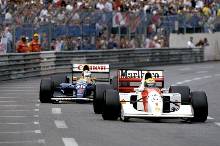 In 1992, Nigel Mansell led for 70 laps until he had to pit with a loose wheel nut. He charged up to Ayrton Senna's McLaren with three laps to go, but could not deny Senna his fifth win in Monaco. ©LATphotography