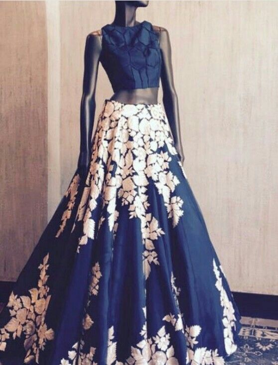 Navy Blue High Waisted gown by Manish Malhotra