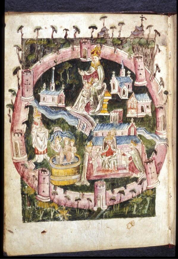 Город Йорк на миниатюре 15века  Representation of the City of York from the fifteenth century manuscript @BLMedieval Harley 1808.