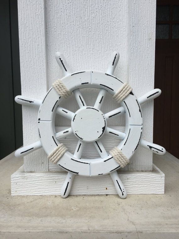 Rustic White Nautical Ship Wheel - Decorative ship's wheel - Wood ship wheel…