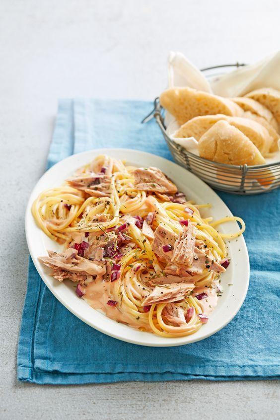 Spaghetti mit Thunfisch-Sahne-Soße tolle und kreative Ideen findest du auch unter: https://www.kochhaus.de/aktuelle-rezepte/ lecker, kreativ, Fisch Rezepte, Kochhaus