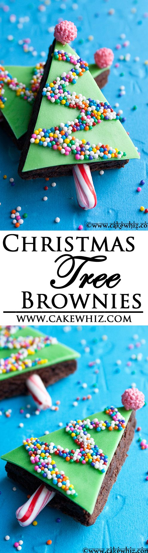 These sprinkly and easy CHRISTMAS TREE BROWNIES are perfect for the holiday season. So much fun to make with kids! From cakewhiz.com