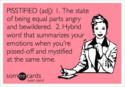 PISSTIFIED (adj): 1. The state of being equal parts angry and bewildered. 2. Hybrid word that summarizes your emotions when youre pissed-off and mystified at the same time.