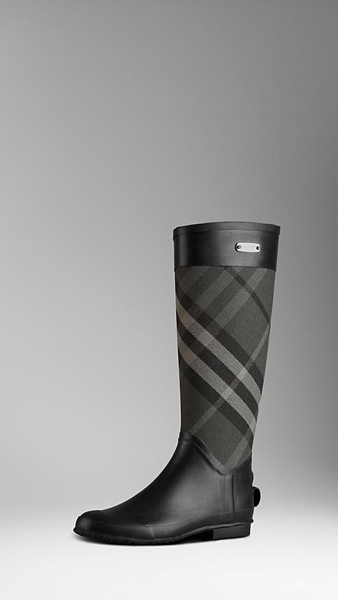 Burberry Check Panel Rainboots.. rainy days wouldn't be so bad with these in my life.